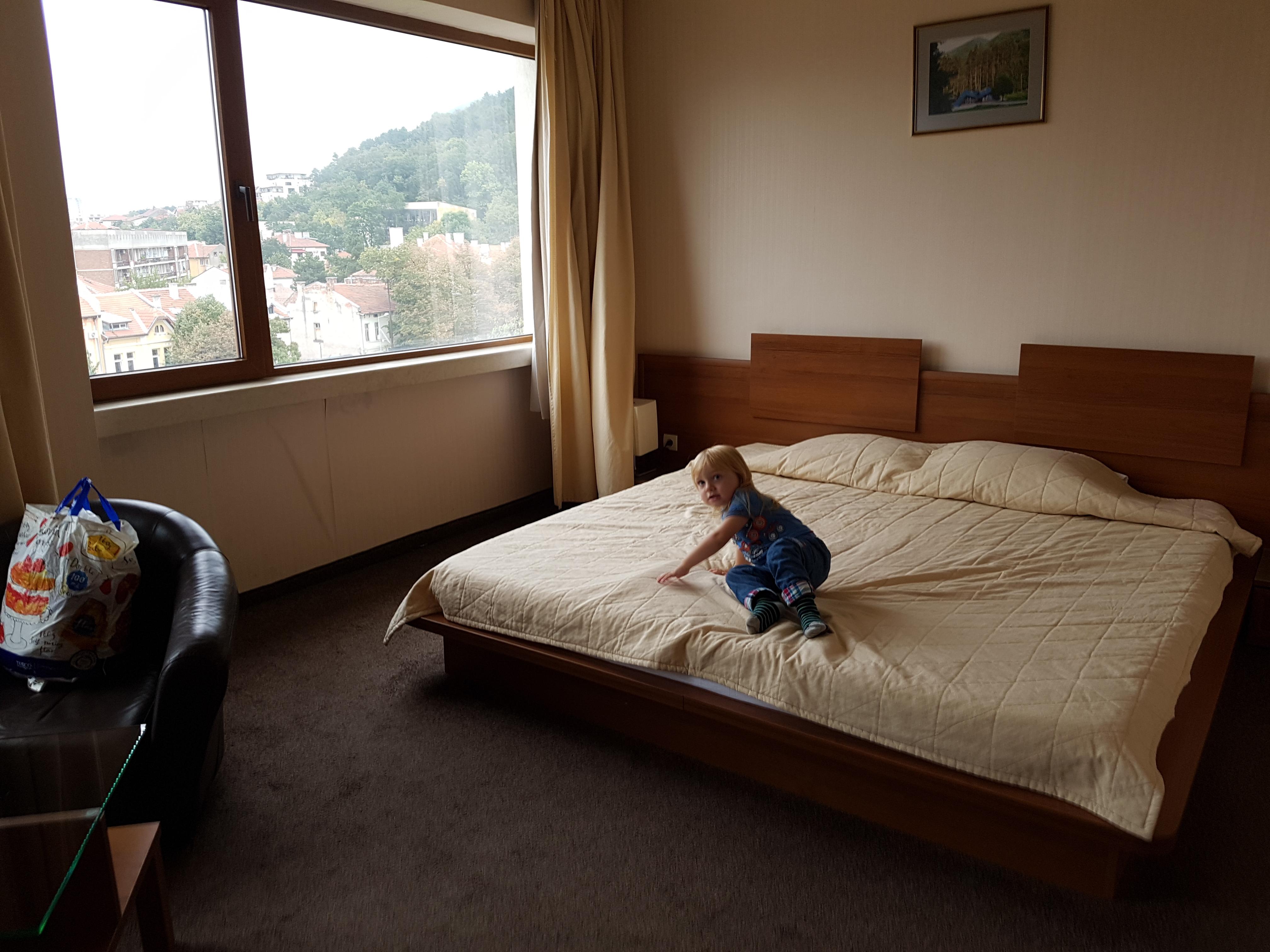 Huge bed and fabulous view at Hemus Hotel, Vratsa